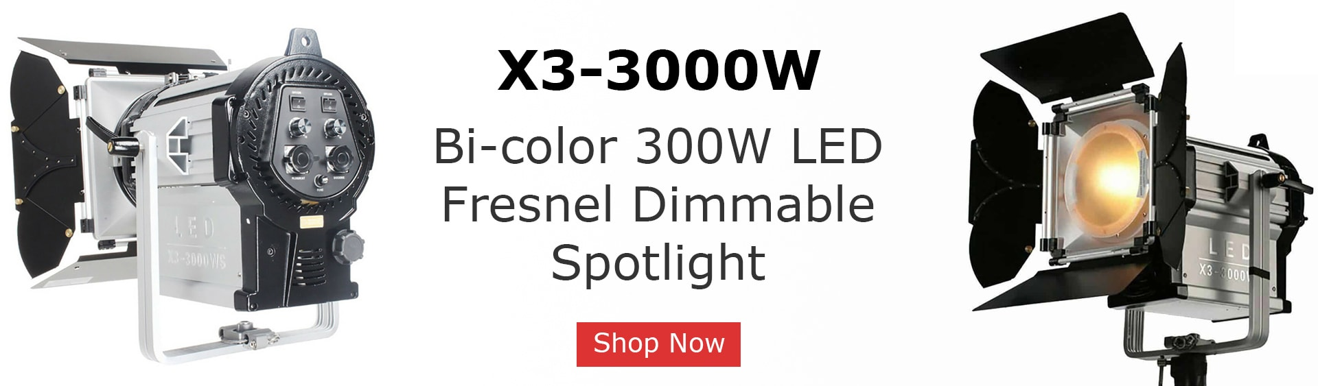 X3-3000W LED Fresnel Dimmable Spotlight Slide